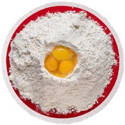 Flour And Eggs Round Beach Towel