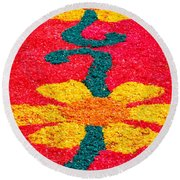 Flower Carpets Round Beach Towel