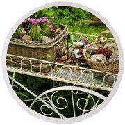 Flower Cart In Garden Round Beach Towel by Elena Elisseeva