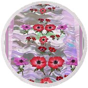 Flower Mania Anemone Fantasy Wave Design Created Of Garden Colors Unique Elegant Decorations Round Beach Towel