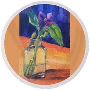 Flowers In Glass Vase Round Beach Towel