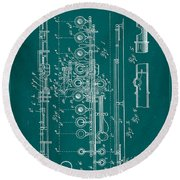 Flute Patent Drawing 2f Round Beach Towel