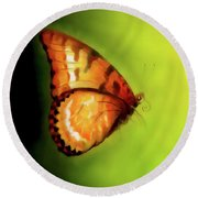 Flying Butterfly On Decorative Background, Graphic Design. Round Beach Towel
