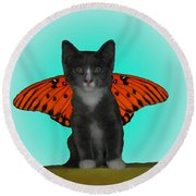 Flying Kitty Round Beach Towel