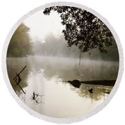 Fog And Light Round Beach Towel