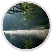 Fog And Reflection On Stream Round Beach Towel