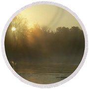 Foggy Mississippi River Sunrise Round Beach Towel