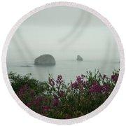 Foggy Viewpoint Round Beach Towel