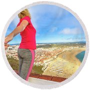 Follow Me In Portugal Round Beach Towel