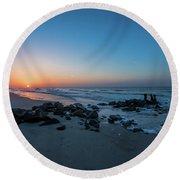 Folly Beach Sunrise Round Beach Towel