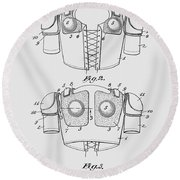 Football Shoulder Pads Patent 1913 Round Beach Towel