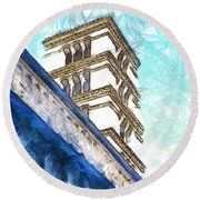 Foreshortening With Bell Tower Round Beach Towel
