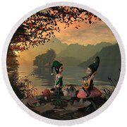 Forest Elves A Sunset Round Beach Towel