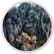 Forest In The Caves Above The Chateau Noir Round Beach Towel