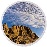 Fort Rock North Wall Round Beach Towel