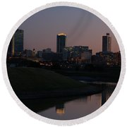 Fort Worth Skyline At Sunset Round Beach Towel