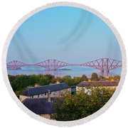 Forth Bridge, Scotland Round Beach Towel