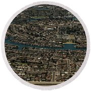 Foster City, California Aerial Photo Round Beach Towel
