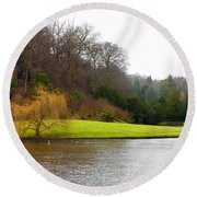 Fountains Abbey  Lake 1 Round Beach Towel
