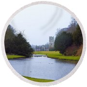 Fountains Abbey Lake Round Beach Towel