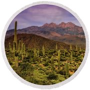 Four Peaks Golden Hour  Round Beach Towel