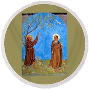 Francis And Claire Triptych Round Beach Towel