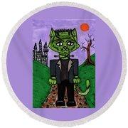 Frankenstein Cat Round Beach Towel