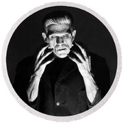 Frankensteins Monster Boris Karloff Round Beach Towel
