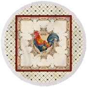 French Country Roosters Quartet Cream 2 Round Beach Towel