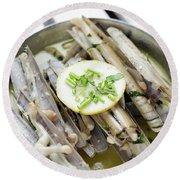 Fresh Razor Shell Seafood Steamed In Garlic Herb Wine Sauce Round Beach Towel