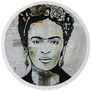Frida Kahlo Press Round Beach Towel