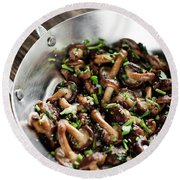 Fried Shiitake Mushrooms In Garlic Herb And Olive Oil Snack Round Beach Towel