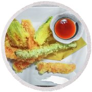Fried Shrimps Tempura Round Beach Towel