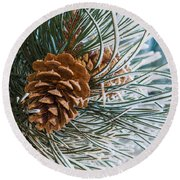 Frosty Pine Needles And Pine Cones Round Beach Towel