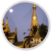 Full Moon In Burma Round Beach Towel