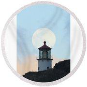 Full Moon Over Makapu'u Light Round Beach Towel