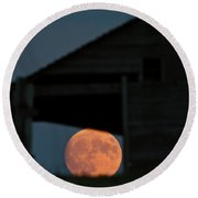 Full Moon Seen Through Old Building Window Round Beach Towel