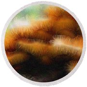 Fungus Tendrils Round Beach Towel by Ron Bissett