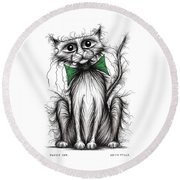Fuzzy Cat Round Beach Towel