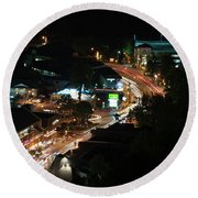 Gatlinburg, Tennessee At Night From The Space Needle Round Beach Towel