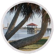 Gazebo Dock Framed By Leaning Palms Round Beach Towel