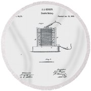 Geiger Battery Patent 1869 Round Beach Towel