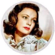 Gene Tierney Hollywood Actress Round Beach Towel