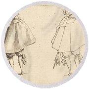 Gentleman In Large Mantle, Seen From Behind Round Beach Towel