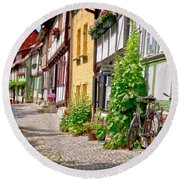 German Old Village Quedlinburg Round Beach Towel