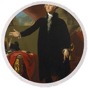 Gilbert Stuart - George Washington 1796 Round Beach Towel