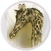 Giraffe Contemplation Round Beach Towel