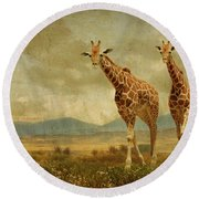 Giraffes In The Meadow Round Beach Towel