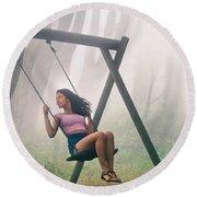 Girl In Swing Round Beach Towel