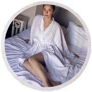 girl in the Bathrobe lying Round Beach Towel
